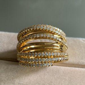 NWOT Nadri large gold w pave embellishments